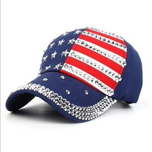 Bling USA patriotic baseball hat cap NEW